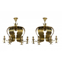 Pair of gilded brass chandeliers 1970s
