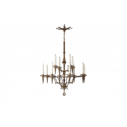 Gilded wrought iron chandelier 12 arms